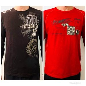 Two cotton long sleeve men's tops.